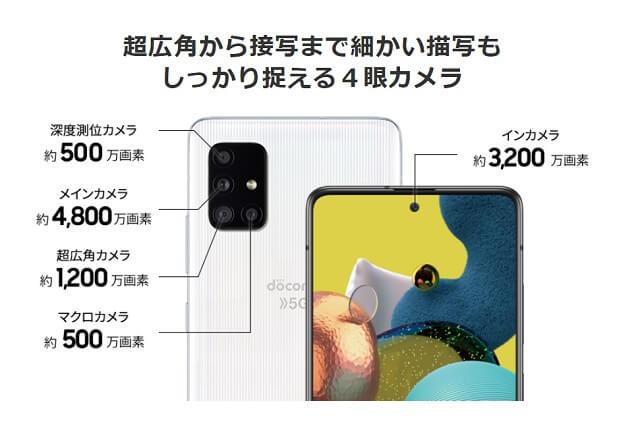 Galaxy A51 5Gのクアッドカメラ