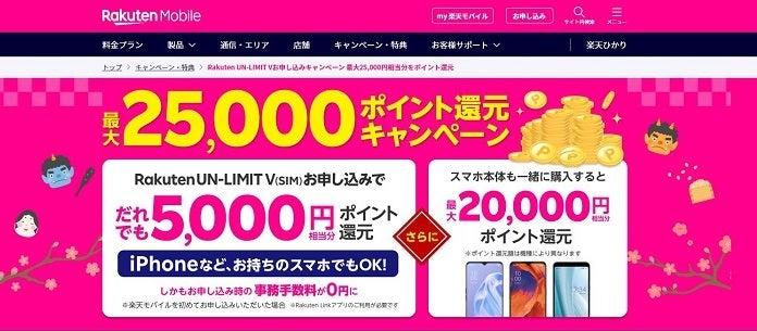 Rakuten UN-LIMIT V+製品購入でポイントプレゼントキャンペーン