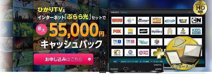 ぷらら光とひかりTVのセットで55,000円キャッシュバック
