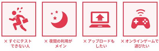 SoftBank Airが向かない・使うべきでない人を説明するイラスト。「機器が届いてもすぐに速度チェックできない人」「動画のアップロードなどもたくさんしたい人」「オンラインゲームでサクサク遊びたい人」