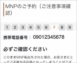 My auの「MNPのご予約(ご注意事項確認)」の画面
