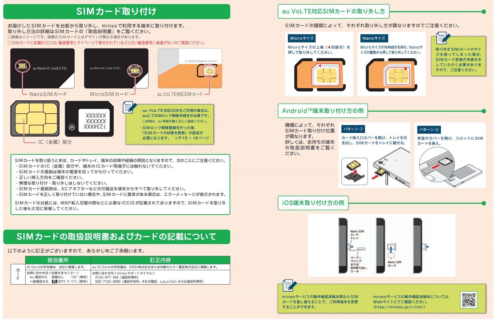 mineoご利用ガイド、SIMカード取り付けのページ