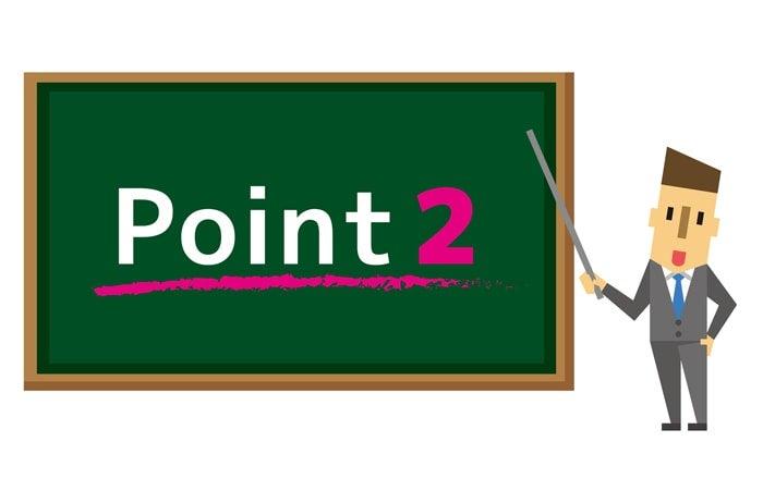 point2と書かれた黒板を指す男性のイラスト