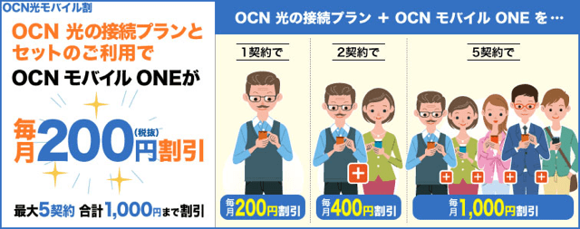 NTTコミュニケーションズ|OCN光モバイル割(OCN モバイル ONE)