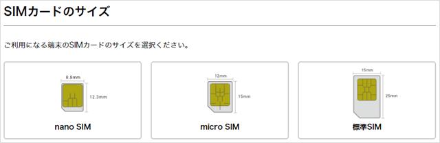 nuroモバイルお申し込み手順その3 SIMカードのサイズ