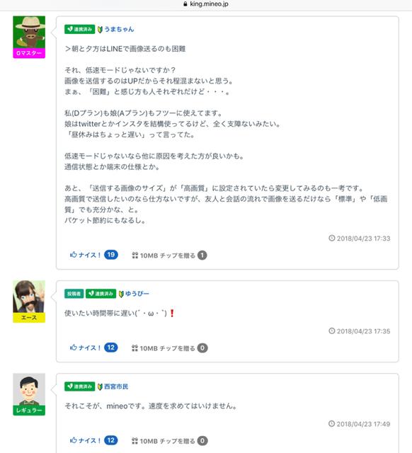 引用:mineo 公式サイト「マイネ王」「mineo がとても遅いんだけど」ねこさん