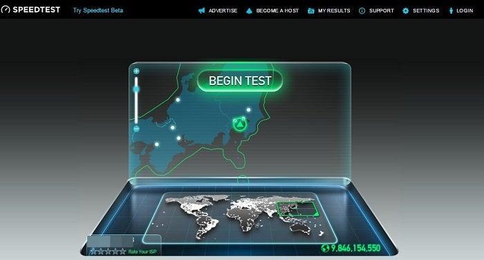 「BEGIN TEST」というボタンをクリックすれば速度計測が始まります