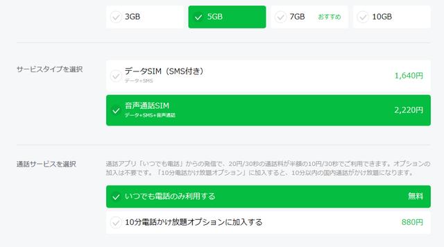 LINEモバイル公式「申込み」⑦