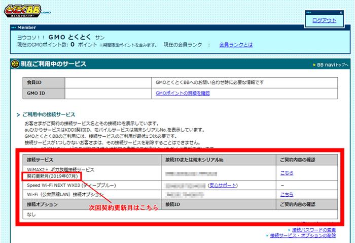 GMOとくとくBB「WiMAX 2+のご契約更新月/満了月の確認方法」