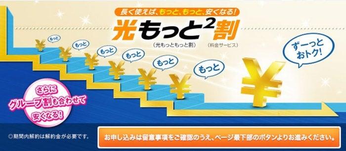 NTT西日本のフレッツ光には「光もっともっと割」という、長く使うほど月額料金が階段式に安くなっていくキャンペーンがあります。